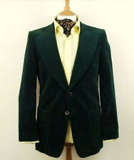 Mens Velvet Coat Blazer Jacket Green Designer Grooms Wedding Party Wear Casual