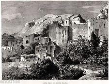 CAPRI: Veduta dall'HOTEL PAGANO.Campania Felix.Grande Veduta. Stampa Antica.1877