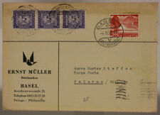SWITZERLAND POSTKARTE STRISCIA SEGNATASSE 5 L + 25 C. HELVETIA 1955 BASEL #SP462