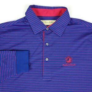 Donald Ross Golf Fiddlers Creek Blue Red Stripe Long Sleeve Polo Shirt Medium