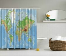 World Map Digital Print Shower Curtain Continents Ocean Global Blue Bath Decor