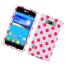 LG Optimus Showtime HARD Protector Case Snap Phone Cover White Red Polka Dots