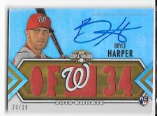 2012 TOPPS TRIPLE THREADS ROOKIE AUTOGRAPH JERSEY BRYCE HARPER RC AUTO 20/25
