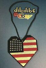 American flag heart perler kandi necklace art, rave, Plur sprite hama sprite Usa