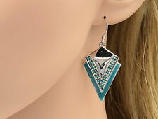 spring trend turquoise blue crystal check pattern lucite stud earrings G39