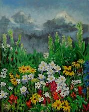 Landscape Spring Wild Flowers NATURE MOUNTAINS ORIGINAL OIL PAINTING Yary Dluhos