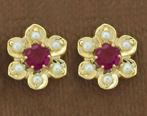 E042 Genuine 9K Gold Natural Ruby & Pearl Blossom Stud Earrings Victorian style