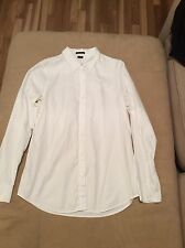 THEORY WHITE Long Sleeve 100% Cotton Fitted Shirt SZ M