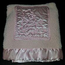 Disney Pink Winnie Pooh Baby Girl Blanket Lovey Bee Fleece Satin