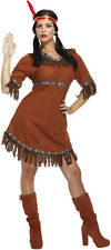 LADIES Womens RED INDIAN Adult Fancy Dress Costume Pocahontas Native American