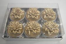 6 Teelichter Blume gold Dekoration Wachs Pajoma Weihnachtsstern Kerzen neu Herbs