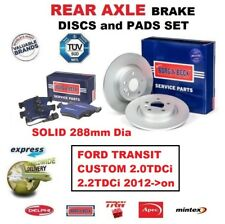 REAR BRAKE PADS + DISCS (288mm) for FORD TRANSIT CUSTOM 2.0TDCi 2.2TDCi 2012->on