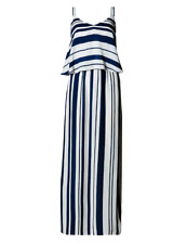Marks & Spencer Navy & Ivory Striped Maxi Dress Orig Price £39 Size 8