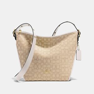 NWT COACH 25698 Signature Dufflette Bag Light Khaki Chalk White Crossbody $295