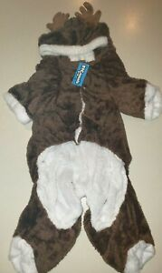 CHRISTMAS REINDEER PLUSH DOG SUIT COSTUME size LARGE NEW NWT brown HOOD CUTE!