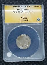 1918/7-D Buffalo Nickel | ANACS AG3 Details | Acid Treated Date | KEY DATE!