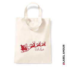 PERSONALISED Sleigh Christmas Tote Bag Xmas Present Gift Sack Stocking Santa