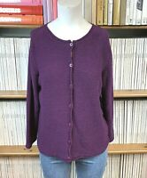 EILEEN FISHER S UK 10 US 6 Cardigan Knit Jumper Top Purple Cotton Casual Boxy