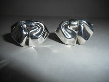 Tiffany & Co Vintage 1990 Sterling Silver Bow Ribbon Earrings