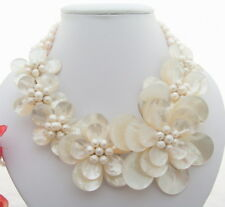"18"" 3 Rows White Pearl  Shell Flower Statement Necklace"
