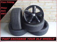 "2373 Genuine 18"" AUDI A3 5 Spoke Black Alloy Wheels & New 225 40 18 Tyres"