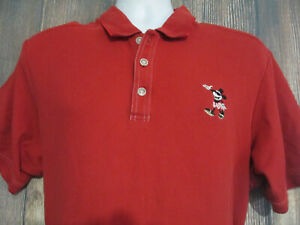 Tommy Bahama Mens L Polo Shirt Embroidered Disney Mickey Mouse Red Pima Cotton