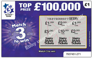 Harry Styles Tickets as Prize / Gift Surprise Reveal Scratch Card Personalised