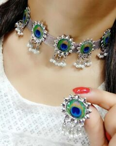 Indian Pride Peacock Beauty Silver Plated Necklace Earrings Fashion Jewelry Gift
