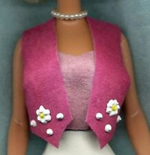 Barbie Doll Clothes - Soft Hot Pink Vest Decorated - Genuine Suede Leather