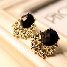 Vintage Luxury Black Stone Gem Crystal Stud Women Earring