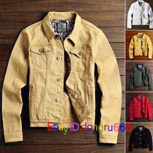 Mens Denim Jeans Jacket Cotton Casual Coat Trucker Button Classic Jacket XXS-XL