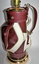 Dura Golf Bag Maroon Burgundy Leather With Pockets & Zippers Lamp with Shade