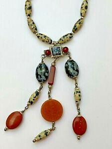 Michal Golan Gemstone Dangle Necklace w/ Dalmatian Jasper, carnelian, agate