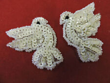 CHRISTMAS DOVE PAIR SEQUIN BEADED APPLIQUE 3495-K