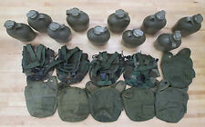 (10) US MILITARY 1QT CANTEENS (6) OLIVE DRAB / (4) WOODLAND CAMO COVERS ~Used~