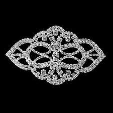 Rhinestone Diamante Silver Motif Crystal Sew On Applique Bridal Dress Patch B140