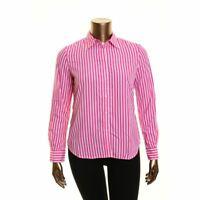 LAUREN RALPH LAUREN NEW Women's White/pink Striped Button Down Shirt Top L TEDO