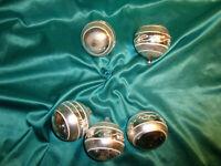 ~ 5 alte große Christbaumkugeln Glas silber weiß Vintage Weihnachtsbaumkugeln ~