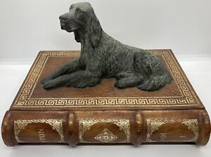 "Vintage Maitland Smith Bronze Cast Dog/ Setter ""Book"" Leather Wood Storage Box"