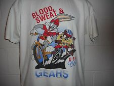 VTG 90s Olympic Games Looney Tunes Taz Bugs Blood Sweat Gears Cycling T-Shirt L