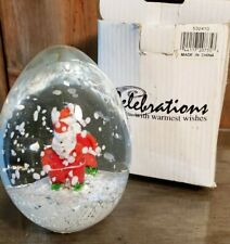 "Vintage Santa Claus Paperweight by Crystal Clear Art Glass Red White Clear 4"" T"