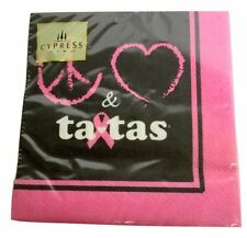 Cypress Paper Cocktail Napkins Save The Ta-Tas Pink Black 20 Ct 10 x 10 inch New