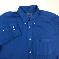 Brooks Brothers Red Fleece Button Up Shirt Mens 2XL XXL Blue 100% Cotton Pocket