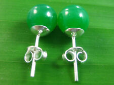 "100% 925 sterling silver Green ""REAL JADE "" 7mm BALL Studs Earring Women Girl"