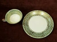 """Elfenbein Germany 7-1/2"""" Plate and Cup Gold Filigree Pattern on Pale Blue VG"""