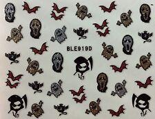 Nail Art 3D Glitter Decal Stickers Halloween Bats Ghost Reeper BLE919D