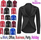 New Womens Crop Frill Shift Slim Fit Blazer Jacket Coat Ladies Size 6-24 SlimJck
