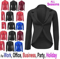 New Womens Crop Frill Shift Slim Fit Blazer Jacket Coat Ladies Size 6-24 SlimJck