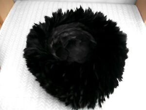 WOOLSAND VINTAGE 1950'S BLACK FEATHER HAT VGC