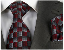 RED / GREY CHECK TIE & HANKY - ITALIAN DESIGNER Milano Exclusive